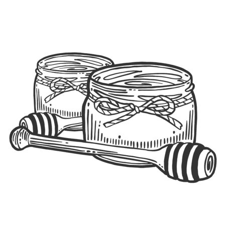 Honey in pot with wooden spoon. Vector concept in doodle and sketch style. Ilustração