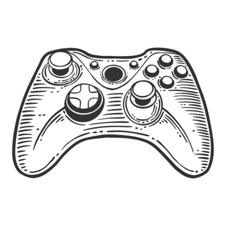 Gamepad. Vector concept in doodle and sketch style. Hand drawn illustration for printing on T-shirts, postcards.