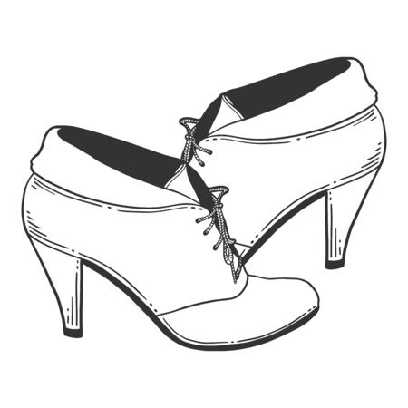 High heel shoes. Vector concept in doodle and sketch style. Hand drawn illustration for printing on T-shirts, postcards.