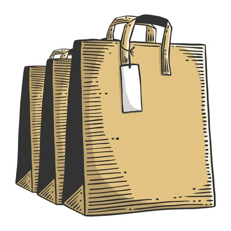 Paper bag for shopping or presents. Vector concept in doodle and sketch style. Hand drawn illustration for printing on T-shirts, postcards. Illusztráció