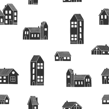 Cute black and white houses in scandinavian style. Isolated buildings seamless pattern. Ilustracja