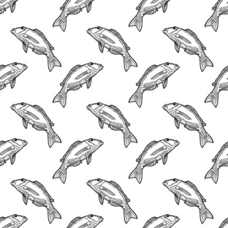 Fishes. Vector concept in doodle and sketch style. Hand drawn illustration for printing on T-shirts, postcards. Seamless pattern for textile, paper wrap. Texture background.