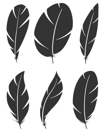Set of different bird wing feathers. Black flying quills symbols. Vector image. Isolated on white background. Çizim