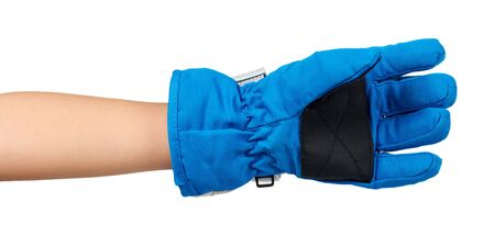 Hand with blue ski gloves, kids protection for hands. Isolated on white background.