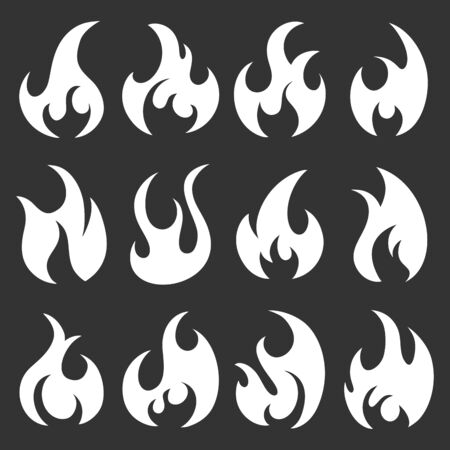 Set of different flames icons. Collection of white fire silhouettes in cartoon style. Isolated on black background.