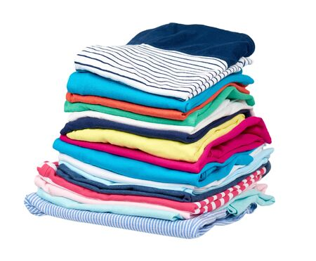 Stack of clothes, fresh laundry textile. Isolated on white background. Фото со стока