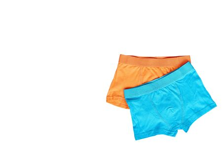 Bright boxer underwear, cotton pants. Isolated on white background. Copy space template.
