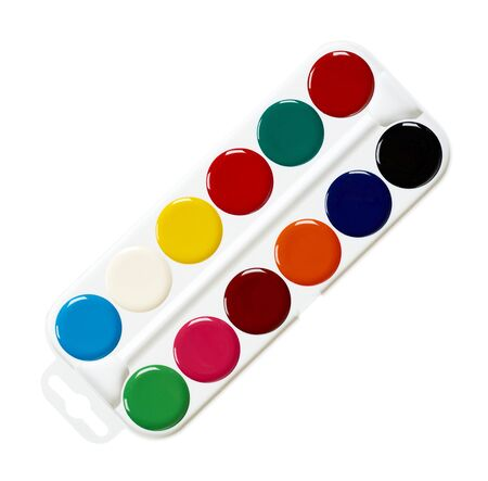 Palette with watercolors. Multicolor paints, draw supply. Isolated on white background.