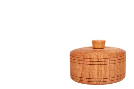 Wooden container, round case. Isolated on white background. Copy space template.