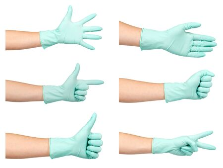 Hand in protection gloves, safety, set and collection. Isolated on white background