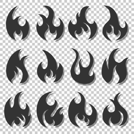 Set of different flames icons. Collection of black fire silhouettes in cartoon style. Isolated on transparent background.