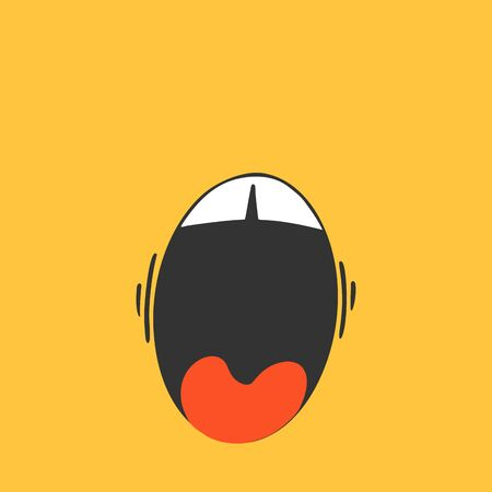 Smile shocked on yellow background. Cute emotion in cartoon style. Good mood, happiness doodle. Vector image.