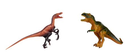Rubber dinosaur toy. Prehistoric wild animal, danger beast, T-Rex. Isolated on white background.