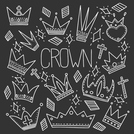Different crowns vector concept in doodle style. Hand drawn illustration for printing on T-shirts, postcards.