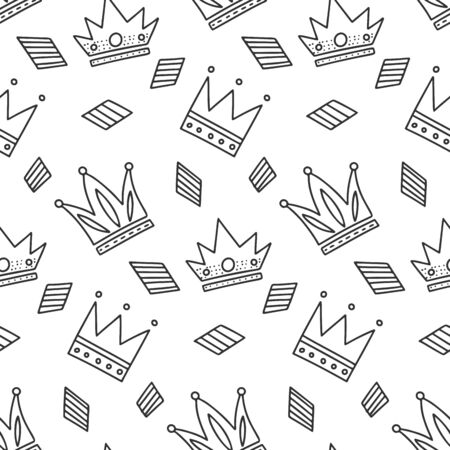Different crowns, vector concept in doodle and sketch style. Hand drawn illustration for printing on T-shirts, postcards. Seamless pattern for textile, paper wrap. Texture background. Illusztráció