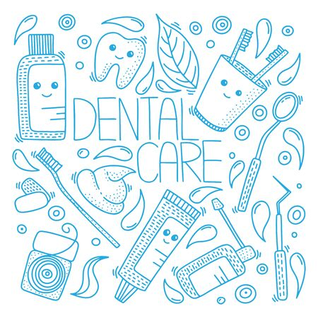 Dental health vector concept in doodle style. Hand drawn illustration for printing on T-shirts, postcards. Ilustracja