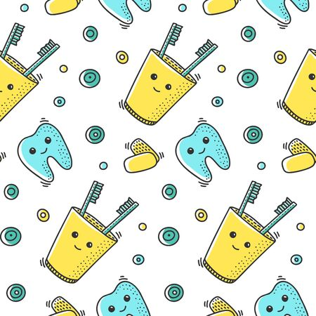 Dental health, vector concept in doodle style. Hand drawn illustration for printing on T-shirts, postcards. Seamless pattern for textile, paper wrap. Texture background.