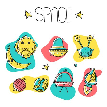 Space and cosmos, vector concept in doodle style. Hand drawn illustration for printing on T-shirts, postcards.  イラスト・ベクター素材