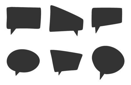 Set of different black speech bubbles, blank and empty template of chat signs. Cartoon style vector image. Isolated on white background.