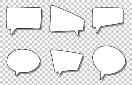 Set of different white speech bubbles, blank and empty template of chat signs. Cartoon style vector image. Isolated on transparent background.