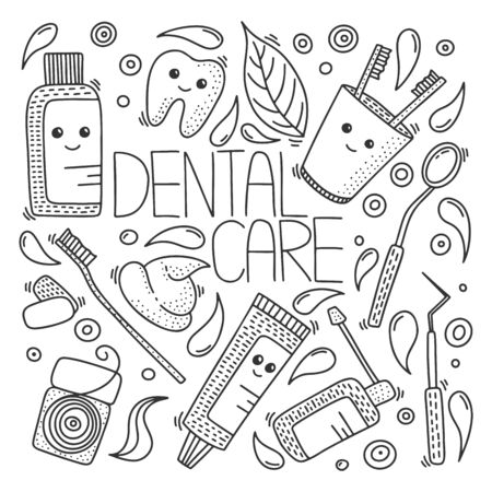 Dental health vector concept in doodle style. Hand drawn illustration for printing on T-shirts, postcards. Icon and logo idea. 向量圖像