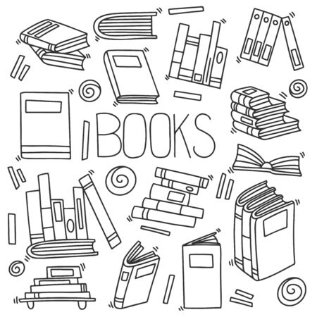 Different books and magazines vector concept in doodle and sketch style, library bookshelfs, bookstore. Hand drawn illustration. Icon and logo idea isolated on white background.
