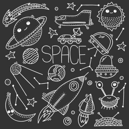 Raum und Kosmos, Vektorkonzept im Doodle-Stil. Handgezeichnete Illustration zum Bedrucken von T-Shirts, Postkarten. Symbol- und Logoidee.