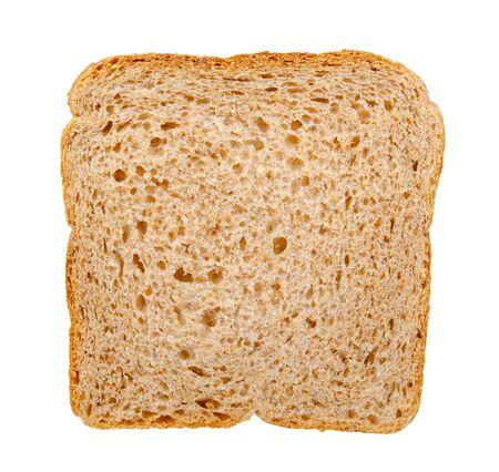 Pain de blé entier, nourriture saine. Isolé sur fond blanc. Banque d'images