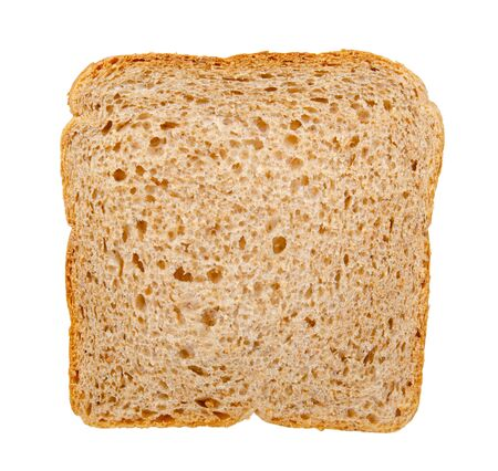 Whole wheat bread, healthy food. Isolated on white background. Stock Photo