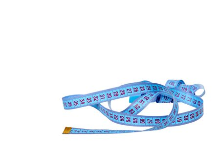 Blue sewing centimeter, ribbon ruler. Measuring tool. Isolated on white background. Copy space.