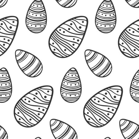 Easter eggs vector, isolated on white background. Seamless pattern image.
