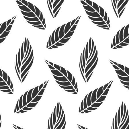 Decorative leafs background, foliage vector. Seamless pattern image. Isolated on white. Çizim