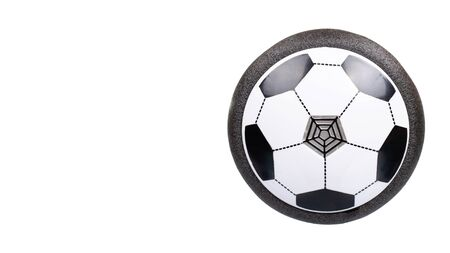 Soccer hover ball, flying toy for kids. Isolated on white background. Copy space, template.