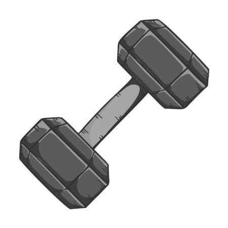 Black dumbbell for weightlifting. Cartoon style vector. Isolated on white background.
