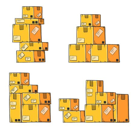 Yellow cargo package in cartoon style, vector image. Isolated on white background. Illusztráció