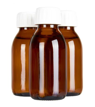 Medical glass bottle, syrup. Isolated on white background.