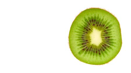 Fresh and ripe kiwi slice. Isolated on white background. Copy space, template.
