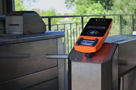 Passenger tickets validator for train, transport payment system, urban railway pass. Stock Photo