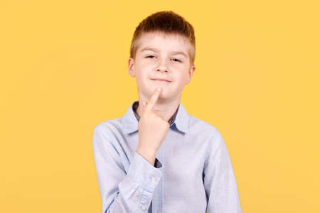 Portrait of a brunette boy pointing finger up, idea concept, thinking. Isolated on yellow background.