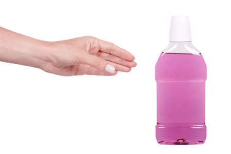 Liquid mouth wash in plastic bottle. Banque d'images
