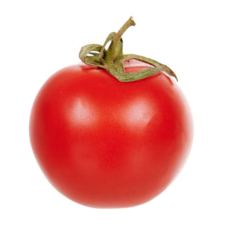 Red round tomato, fresh and juicy vegetable. Stock Photo