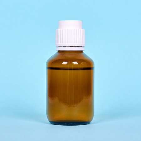 Medical bottle, pharmacy drug in glass container.