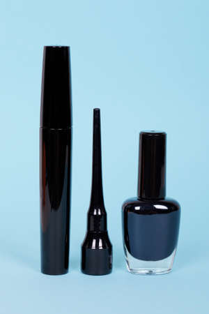 Black nail polish with mascara tube. Zdjęcie Seryjne