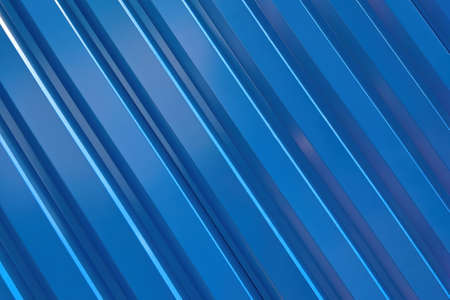 Blue metal corrugated wall, texture and pattern.