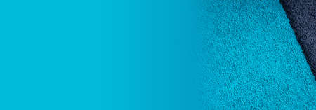 Blue towel fabric texture, top view photo, copy space background. 免版税图像