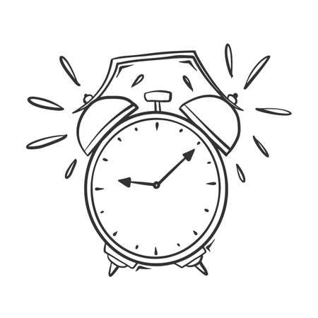 Hand drawn vector of ringing alarm clock.  イラスト・ベクター素材