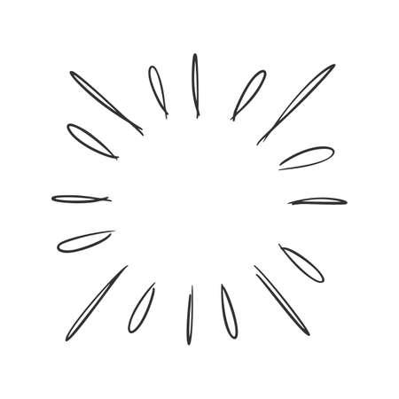 Hand drawn vector of sunburst template.