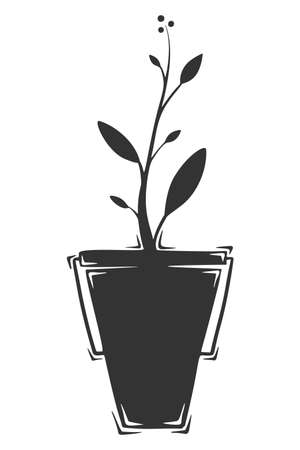 Hand drawn vector of bucket with growing plant.