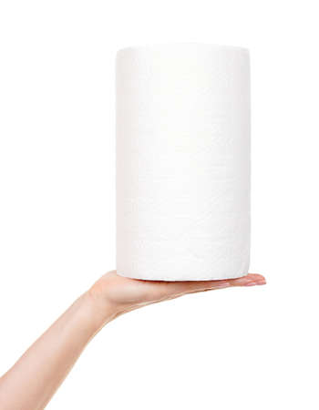 Hand with roll of paper towel isolated on white.