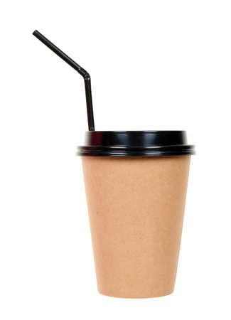 Cardboard cup with black straw isolated on white.